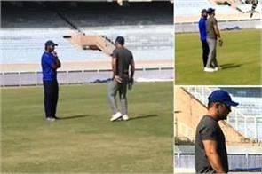 mahendra singh dhoni seen at jsca stadium given batting tips to friend
