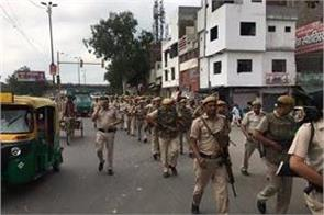 police did flag march precautionary section 144 applied