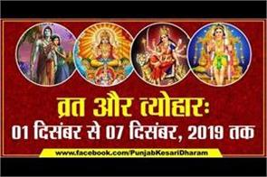 fast and festivals of 01 to 07 december 2019
