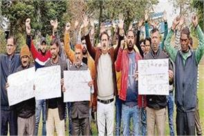 panch sarpanches and transporters protest against toll plaza
