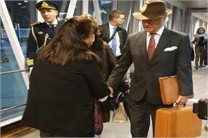 sweden s  royal couple  arrived in india by air india flight