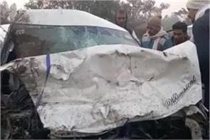 two cars collide on the national highway