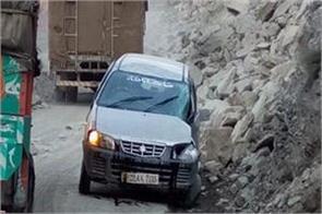 car caught under landlisde in ramban
