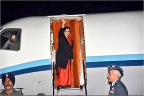 sushma leaves china for meeting with chinese foreign ministers