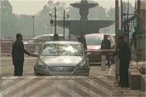 delhi security on high alert after car rammed into a barricade in parliament