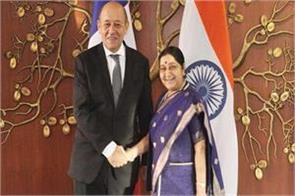 swaraj talks with foreign minister of france on counter terrorism cooperation