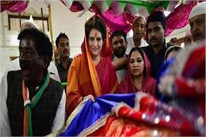 priyanka reached court of mother vindhyasini devi she got to hear modi modi