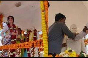priyanka climbs on idol of former pm lal bahadur shastri