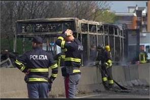 italian driver sets school bus on fire after kidnapping students