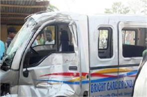 collision between uncontrolled truck and school van