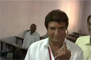 up congress chief and candidate raj babbar cast votes