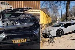 lamborghini performante loses control and crashes into a tree