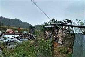 storm rain ravage in manipur 2 died and many injured