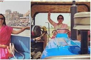 hema malini trolley running tractor after installing glasses