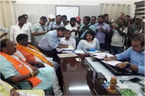 presence of cm raghubar bjp candidate hemlal murmu filed nomination