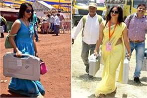 blue dressed polling officer now after yellow sari