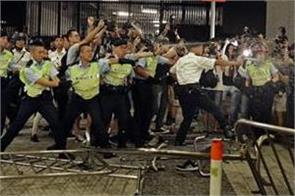 police protesters clash outside hong kong s parliament