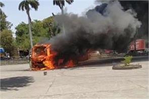 a fire in a tourist bus near pinjore garden