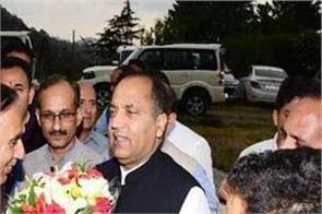 shimla reaches cm jairam returning from foreign tour