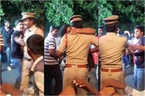 drunk man kisses cop during bonalu festival in hyderabad
