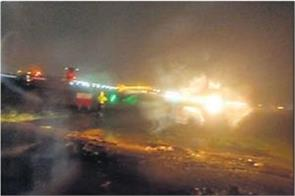 gujarat plane of spicejet slips on runway due to heavy rains