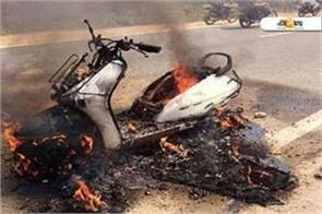 scooty caught fire in doda