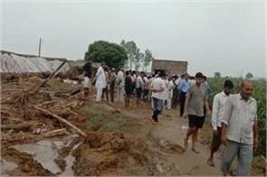 poultry farm roof collapsed in heavy raining in sonipat two died