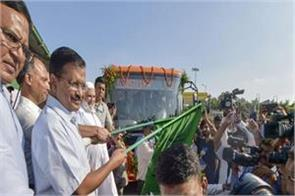 3000 buses will be on the roads in 8 months kejriwal flags off 25 new buses