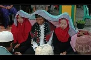 indonesian man marries 2 girlfriends in unusual ceremony