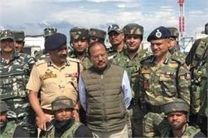 national security advisor ajit doval meets security personnel in shopia