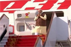 pm modi arrives in bahrain reconstruction of 200 year old temple