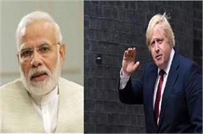 narendra modi talks to uk pm boris johnson raises issue of indian embassy