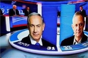 israel election exit polls show netanyahu trails rival gantz