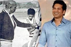 sachin remembered childhood coach and share old photo