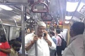 gajendra singh shekhawat takes delhi metro