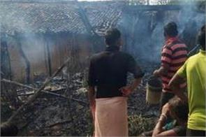 fire erupts in varanasi while making  mid day meal