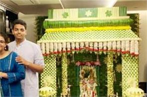 tendulkar and other cricketers celebrate ganesh festival