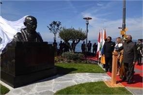 president ram nath kovind unveiled mahatma gandhi statue in switzerland