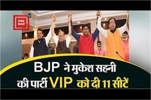 bjp gives mukesh sahni party vip 11 seats from its account