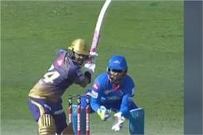 kkr vs dc sunil narine hits such a strong six ashwin also surprised