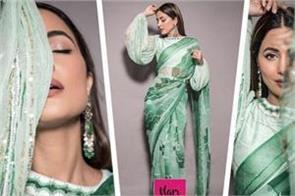 hina khan print saree with a backless blouse traditional look