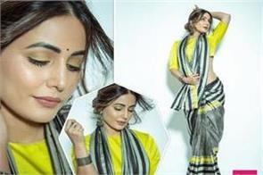 hina khan look stunning in saree