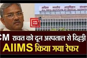 cm rawat was referred to delhi aiims