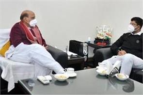 haryana deputy chief minister dushyant chautala meets rajnath singh