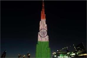burj khalifa illuminated with indian tricolour on 71st republic day