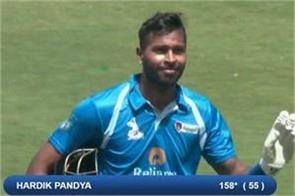 hardik s great performance continues makes unbeaten 158 runs in 55 balls