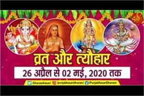 fast and festival from 26th april to 02th may 2020 in hindi