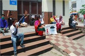 terminated workers from medical college continued their protest