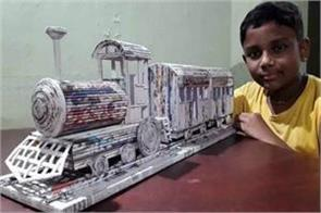 12 year old child made train from newspaper railway ministry became fan