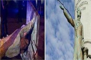 protesters topple jefferson davis statue in richmond va